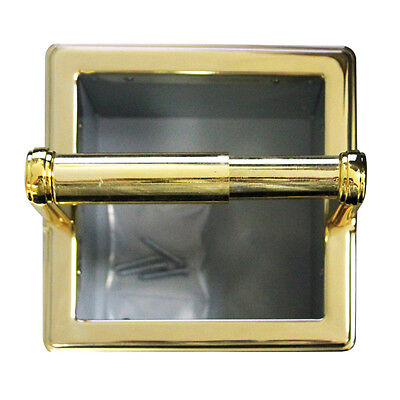 FRANKLIN BRASS 972PB Beveled Recessed Extra Roll Paper Holder Polished Brass