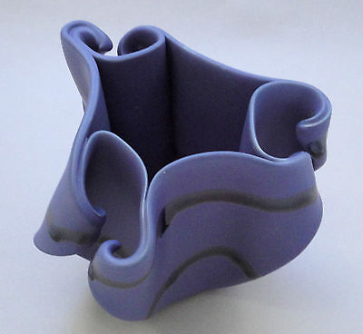 Hilborn Canada Vase 6in Freeform Curled Periwinkle Blue Signed Pinch Art Pottery