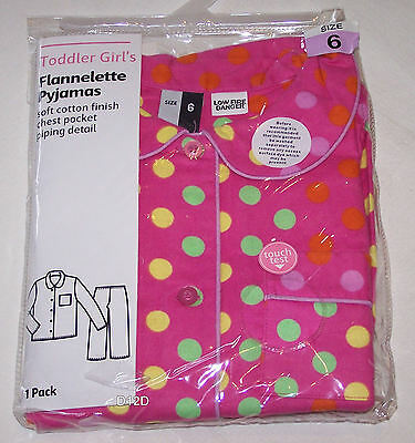 Pink Spots Printed Girls Flannel Pyjama Set Size 6 New