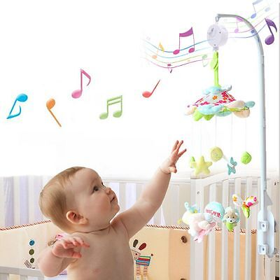 Baby Mobile Crib Bed Toy Clockwork Movement Music Box Infant Bell hook hanger