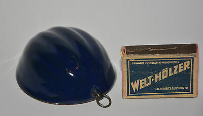 Antike Emaille Form Miniatur Blau Pudding Backform Puppe Küche Stube Enamel Doll