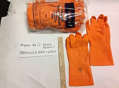 12 Pair Extra Large Very Heavy Gage Latex Rubber Gloves Textured Durable Orange