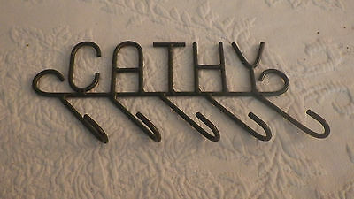 "Cathy CATHY Small Metal 5 Hook Coat Hanger Green Hooks 9"" Long 4"" Tall"