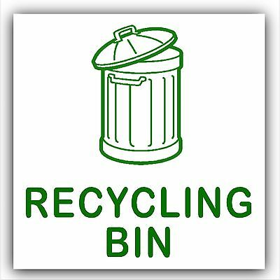 1 x Recycling Waste Bin Self Adhesive Sticker-Printed Recycle Logo Sign-2016 NEW