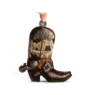 Western Style Cowboy Boot Piggy Bank Coins Money Leather and Snakeskin Look