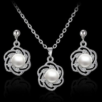 Women Pearl Rhinestone Crystal Necklace Earrings Set Wedding Engagement Jewelry