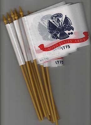 """12 SMALL 4""""X6""""inch.US.ARMY  FLAGS ON POLES"""