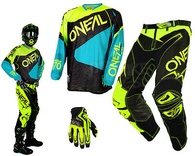 Oneal Hardwear Flow Vented MX Combo neon gelb teal MX Motocross Enduro