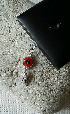 Poppy and Leaf Dangle Charm For Mobile Phone. Tablet. Iphone. Dust Plug.