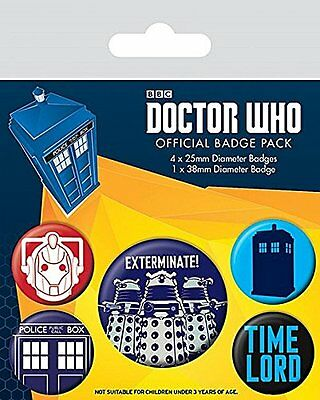 Doctor Who Exterminate set of 5 pin badges Dr Who Officially LIcensed BP80496