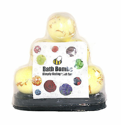 10 x Round 65g Bath Bombs Fizzy Buzzy Bursts - Lemon, Lime & Bergamot