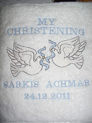 Baby's Embroidered Doves, My Christening on White Towel