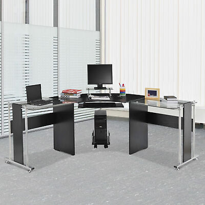 "68.9""L  Home Office L-shaped coner design computer desk workstation w/ CPU stand"