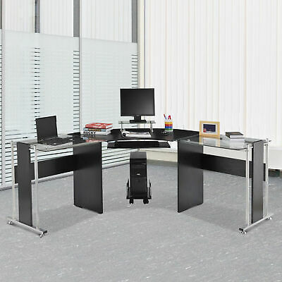 """69"""" L-Shaped Coner Computer Laptop Desk w/ CPU Stand Home Office Workstation"""