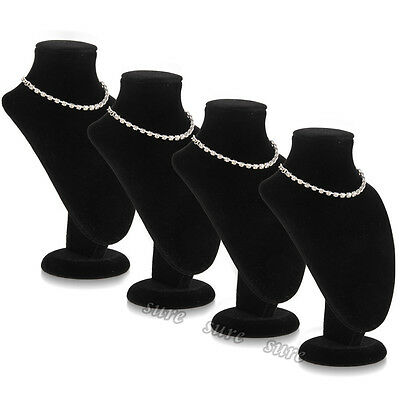 4pcs Black Mannequin Necklace Jewelry Chain Pendant Display Stand Holder Show