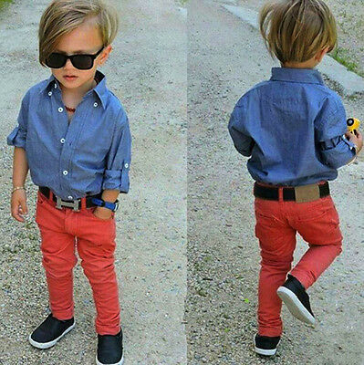 2Pcs Baby Boys Long Sleeve Jeans Coat + Pants Set Kids Casual Clothes Outfits