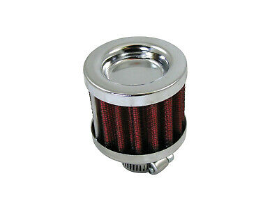 Large Breather Filter 12mm Neck Internal Diameter (Oil Crankcase Air) RED/CHROME