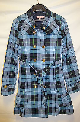 Girls Juicy Couture Blue Tartan Check Trench Coat age 10