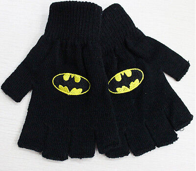 lot New embroidery batman logo Unisex keep warm Knitted Gloves Dew finger gloves
