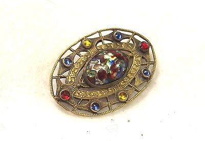 Etruscan Style Brooch - Antique Pin - Stone Jewelry - Antique Jewelry - C Clasp