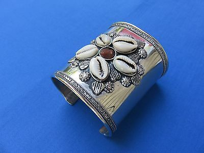 African Ethnic Jewelry ANODIZED SILVER WITH COWRIES WIDE CUFF  Bracelet A