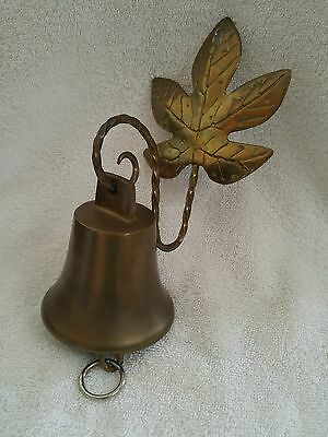 Vintage Brass Shop Home Front Door Kitchen Bell w/ Leaf