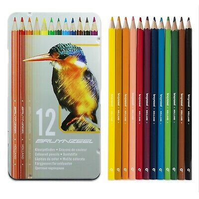 Bruynzeel - 12 Colouring Pencils in Metal Gift Tin - Kingfisher Design