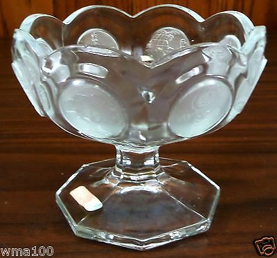"Vintage 1977 FOSTORIA Coin Clear Open Jam Jelly Compote Dish 3 7/8"" Tall WOW!"