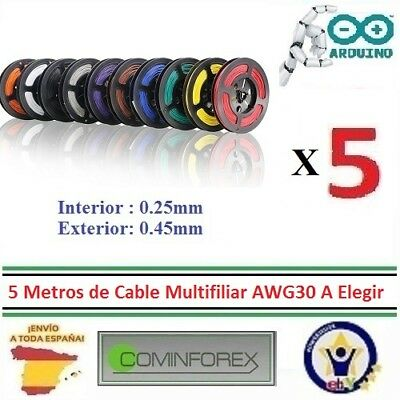 10 Metros Cable AWG30 Unifiliar Wrapping Wire Electronica, 7 Colores Dupont PCB