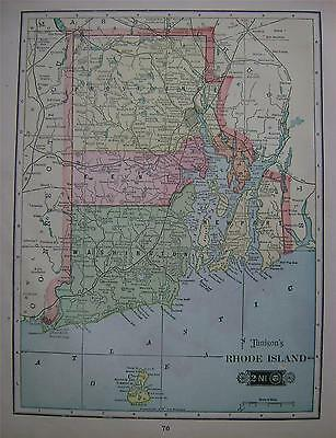 1904 Rhode Island Original Color Atlas Map^ ..... 112 years-old!