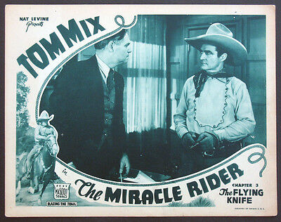 f789bbf7 THE MIRACLE RIDER Chap. 3 Tom Mix Western Serial 1935 Lobby Card ...