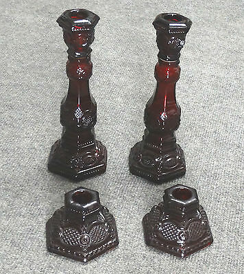 4 Pc Avon Cape Cod Ruby Red, Candleholders, 2 Short & 2 Tall