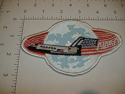 "Shuttle USA Flag Orbit around White Planet NASA space patch 5""x 3"" oval large"