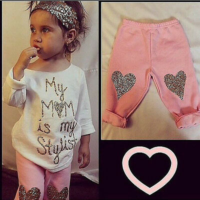 2PCS Girls Baby Kids Fashion Top T Shirt Leggings Pants Trousers Outfits Clothes