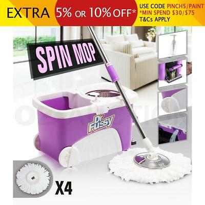 360 Degree Spinning Mop & Stainless Steel Spin Dry Bucket 4 Mop Heads Free