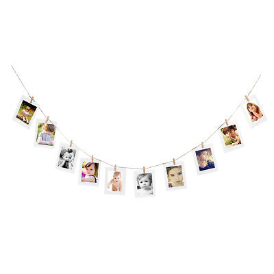 10 Set Paper Photo DIY Wall Picture Hanging Frame Album Rope Clip Set Home Decor