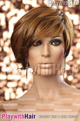 Asymmetrical Longer Front Bob Wig Brown Blonde Ombre Mix