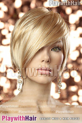 Sleek Pixie Cut Short Wig Longer Front Soft Blonde Mix