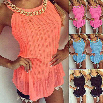 Women Sexy Sleeveless Chiffon Vest Tank Tops Ladies Summer Casual T-Shirt Blouse