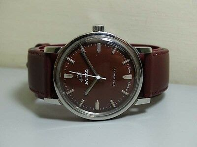 Vintage Enicar WINDING STAR JEWELS Swiss MENS WRIST Watch OLD USED E609 Antique