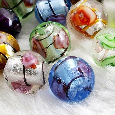 Lot 50 Round Lampwork Glass Flower Loose Beads 12mm CHIC