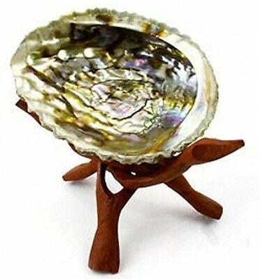 """Wooden Tripod Incense Burning Smudging Genuine Abalone Shell 6"""" Holder New"""