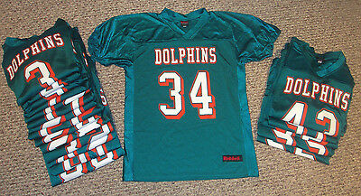 NEW Lot of 20 Riddell Youth Football League Jerseys DOLPHINS Team Set Ages 9-12