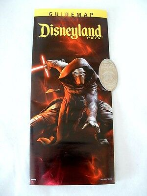 Disneyland Park 2016 Kylo Ren Guide Map And Pressed Quarter Set Disney New 60Th