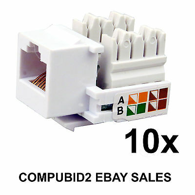10 x RJ45 KEYSTONE JACK WALL PLUG CAT5E CAT6 Ethernet LAN Network Module Adapter