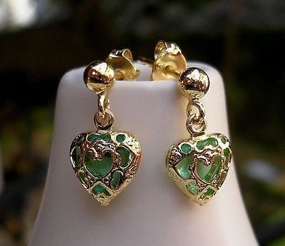 GENUINE 9ct gold Hoop Earrings gf Emerald Inspired STUNNING ALMOST SOLD OUT! 091