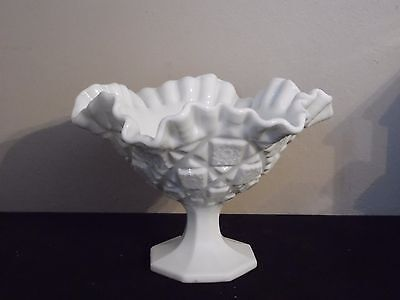 "Westmoreland Milk Glass Old Quilt Pattern Crimped Ruffled Edge Compote 5 1/2"" T"