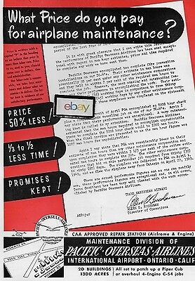 Pacific Overseas Airlines Ontario Maintenance 1949 Letter Trans Caribbean Dc4 Ad