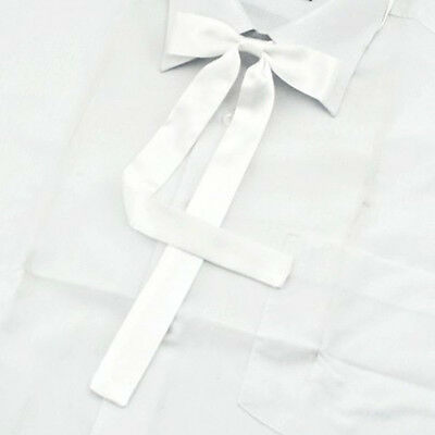 Women Girl Sailor School Pre-tied Satin Thin Bowtie Bow Neck Tie White
