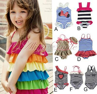 Girls Kids Baby Swimwear Swimsuit Toddler Swimming Bathing Suit Beachwear 1-10Y